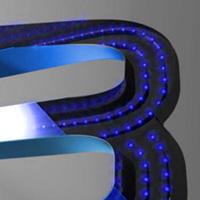 Клееные буквы со светодиодной засветкой, светится лицевая и боковая поверхность букв (код БС-02)